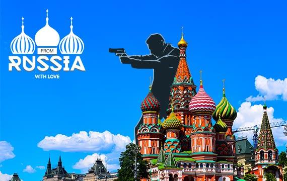 Kathedraal van de Voorbede van de Moeder Gods met From Russia with love logo